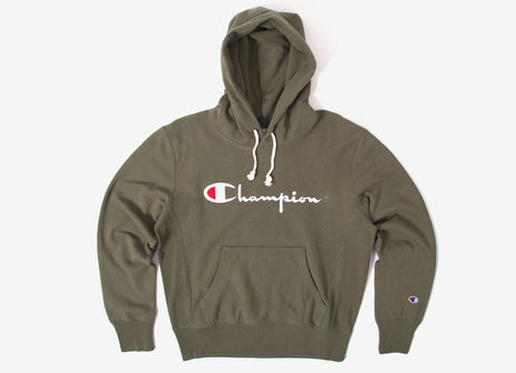 Champion Reverse Weave Script Logo Pullover Hoody - Olive