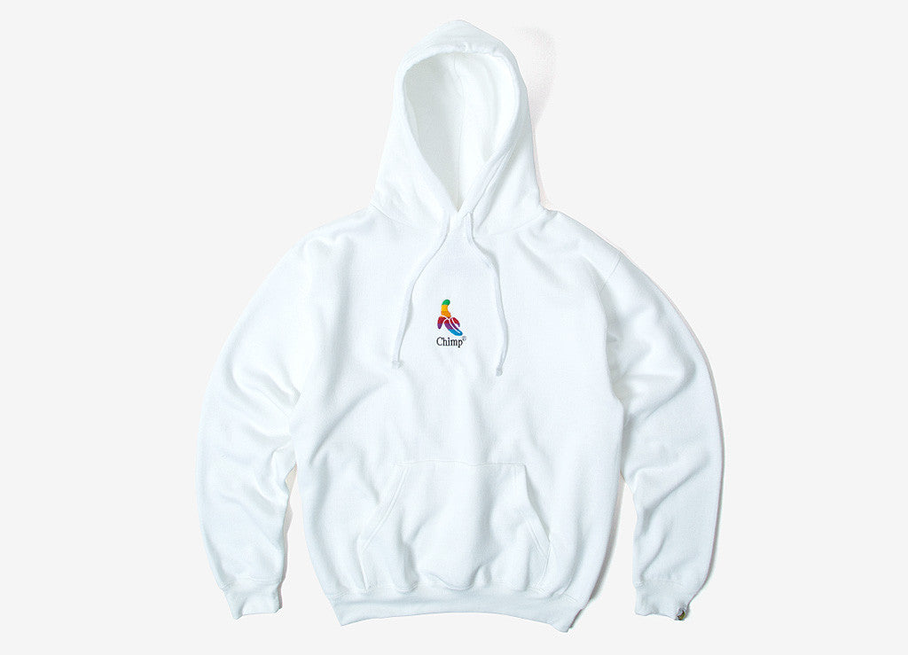 Chimp Throwback Embroidered Pullover Hoody - White