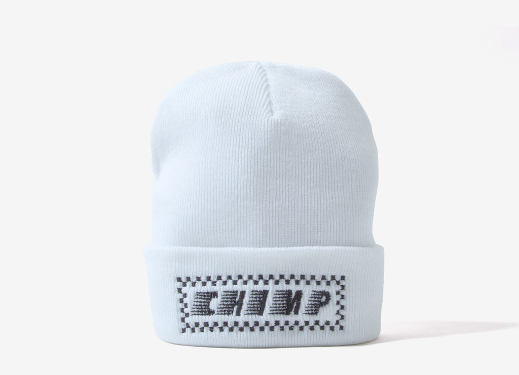 Chimp Raceway Embroidered Beanie - White