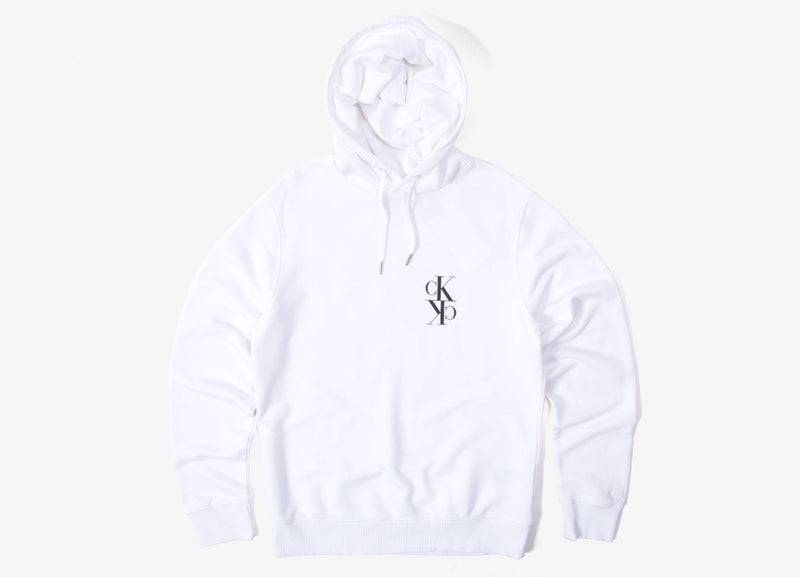 Calvin Klein Mirrored Monogram Hoody - Bright White/Black