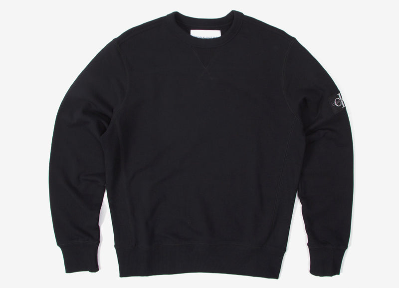 Calvin Klein Monogram Sleeve Badge Crewneck - Black