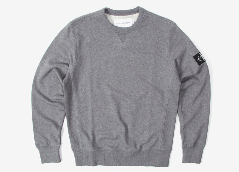Calvin Klein Monogram Sleeve Badge Crewneck - Mid Grey Heather/Black