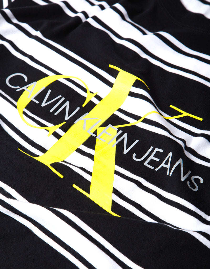 Calvin Klein Monogram Stripe T Shirt - CK Black/Bright White Stripe