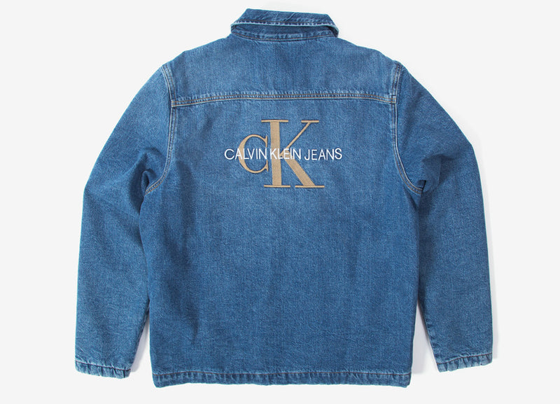 Calvin Klein Padded Denim Shirt Jacket - Mid Blue