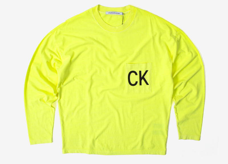 Calvin Klein Neon Relaxed Long Sleeve Pocket T Shirt - Safety Yellow
