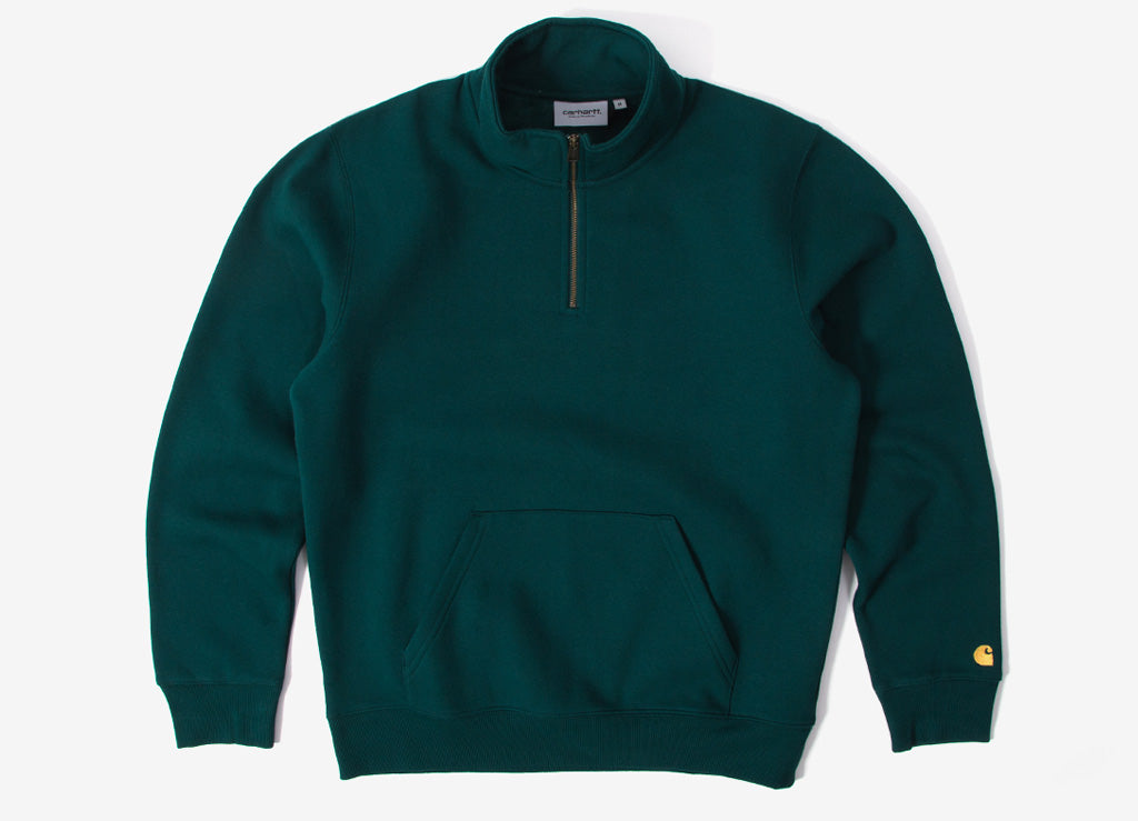 Carhartt Chase Neck Zip Sweatshirt - Dark Fir/Gold