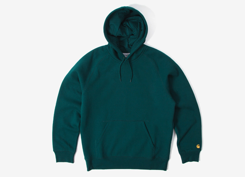 Carhartt Hooded Chase Sweatshirt - Dark Fir/Gold