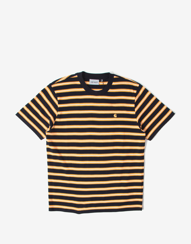 Carhartt WIP Oakland Stripe T Shirt - Dark Navy/Orange