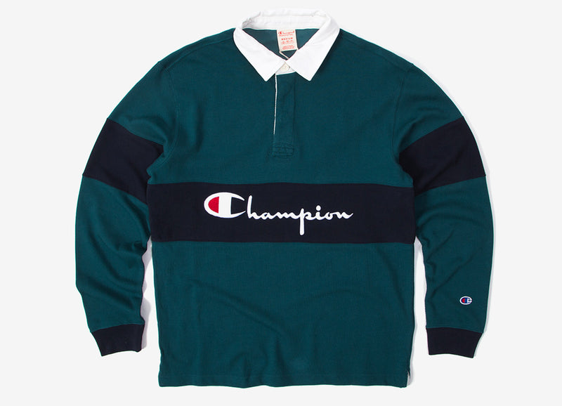 Champion Long Sleeve Polo Shirt - Olive/Navy