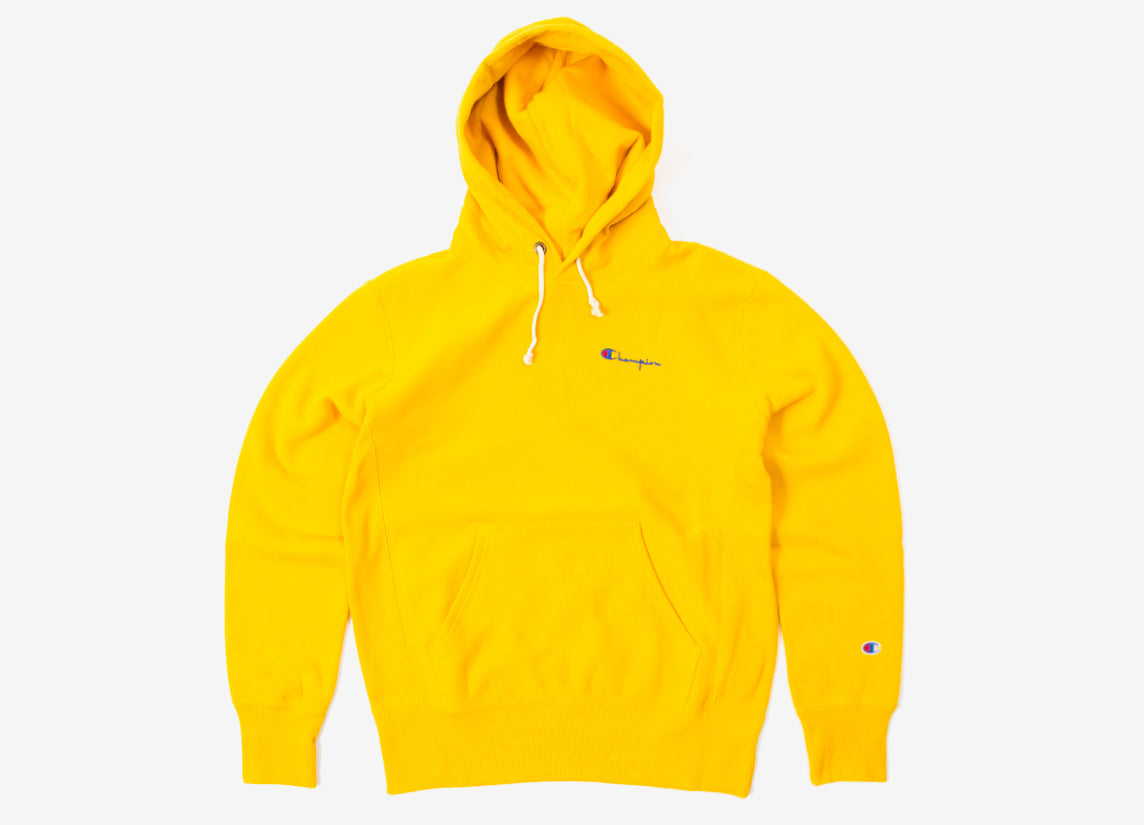 Champion Reverse Weave Small Script Pullover Hoody - Gold