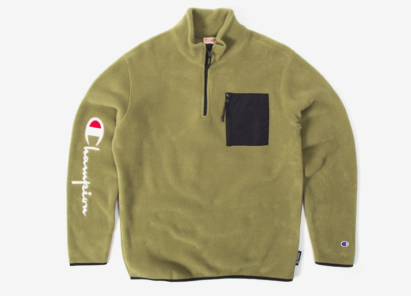 Champion Sleeve Script Half Zip Fleece - Olive