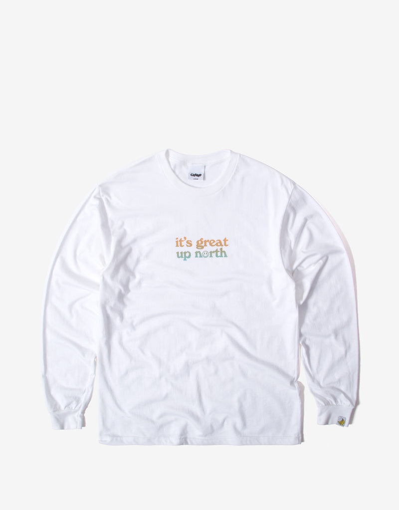 Chimp It's Great Up North Long Sleeve T Shirt - White/Orange/Blue