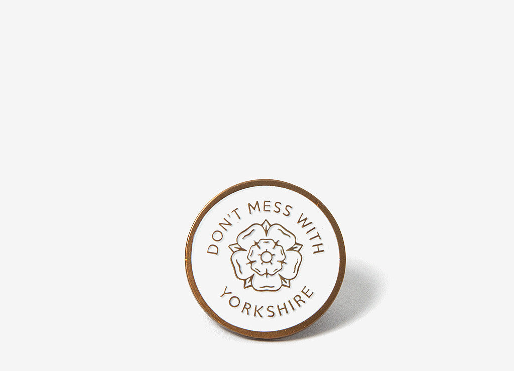 Don't Mess With Yorkshire Enamel Rose Pin Badge - White/Gold