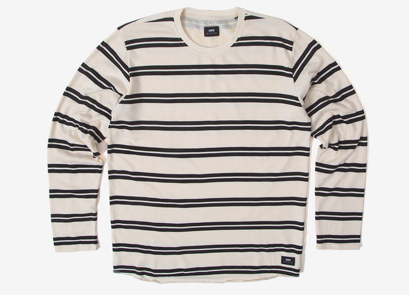 Edwin Terry Striped Long Sleeve T Shirt - Natural/Black