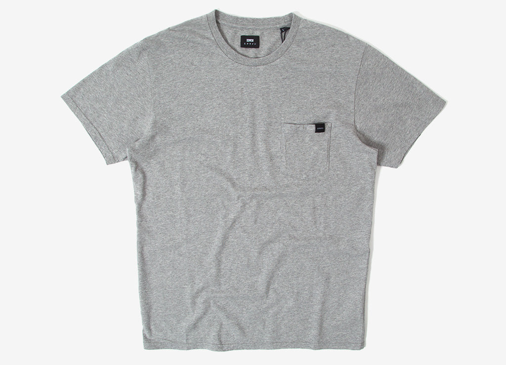 Edwin Pocket T Shirt - Marl Grey Garment Washed