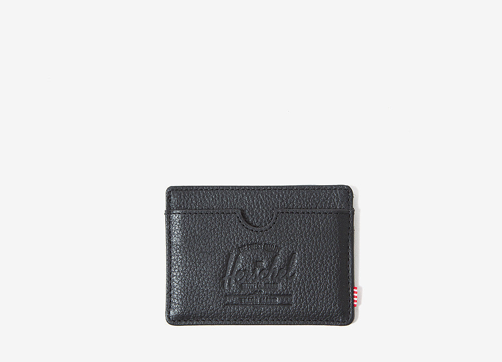 Herschel Supply Co Charlie Card Wallet - Black Pebbled Leather
