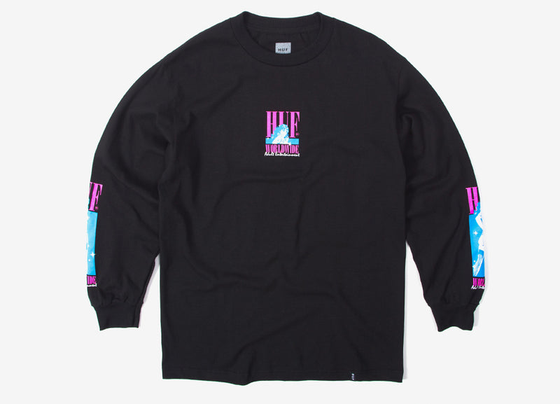 HUF Adult Entertainment Long Sleeve T Shirt - Black