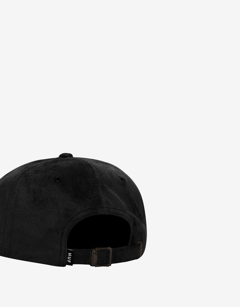 HUF Box Logo Suede CV 6 Panel Cap - Black