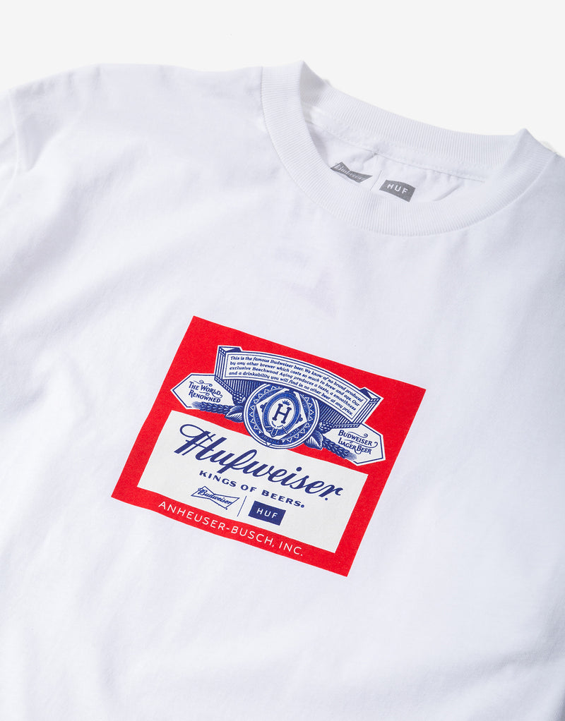 HUF x Budweiser Label Long Sleeve T Shirt - White