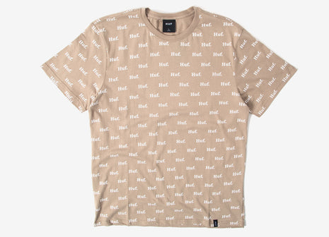 HUF Domestic Allover Print T Shirt - Tan