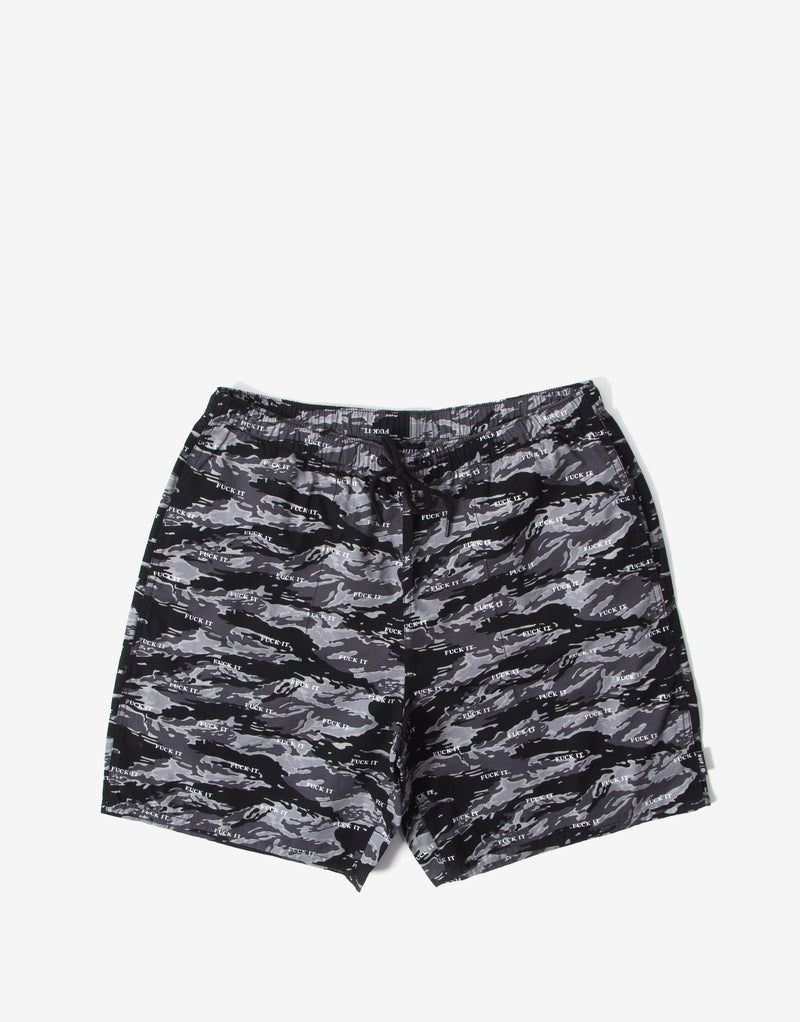 HUF Fuck It Tiger Camo Easy Shorts - Black