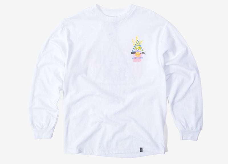 HUF Full Frequency TT Long Sleeve T Shirt - White