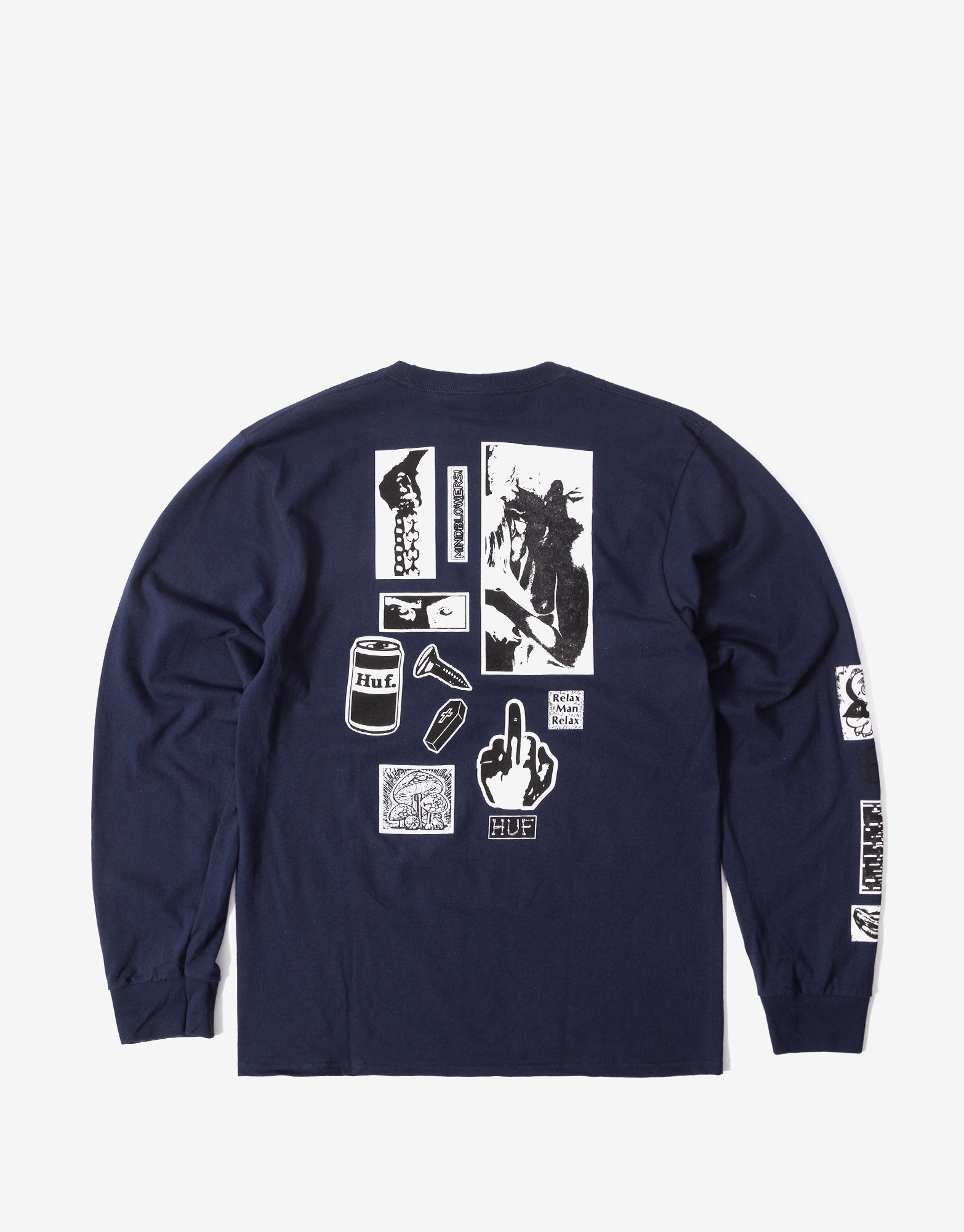 HUF Masters Long Sleeve T Shirt - French Navy