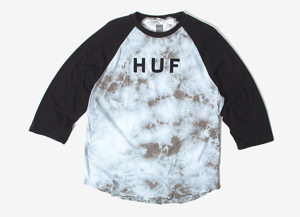HUF Original Logo Crystal Wash Raglan T Shirt - Black
