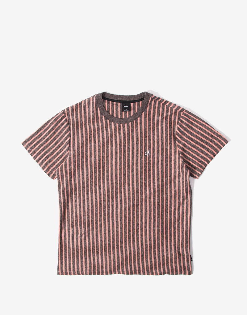 HUF Overdyed Vertical Stripe T Shirt - Coral Pink