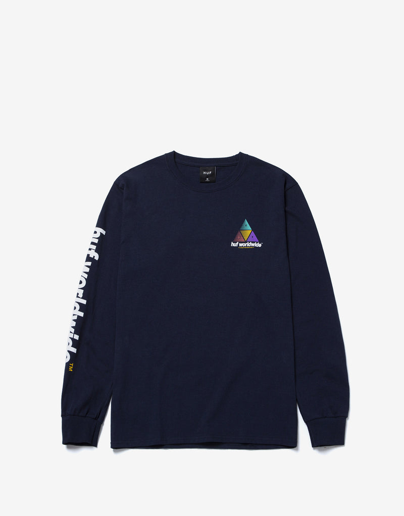 HUF Prism Logo Sportif Long Sleeve T Shirt - French Navy