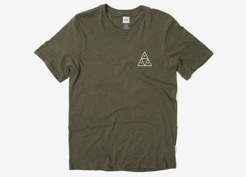 HUF Triple Triangle Streaky Heather T Shirt - Olive
