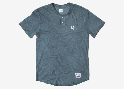 HUF Script Enzyme Wash Henley T Shirt - Grey