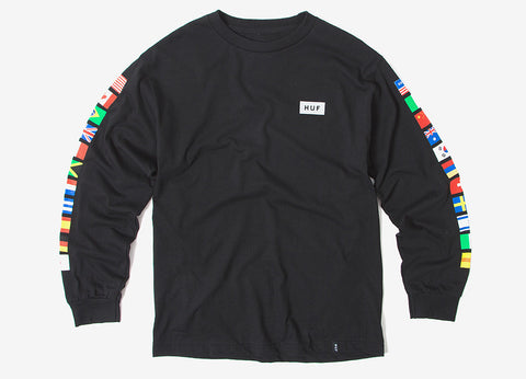 HUF Flags Long Sleeve T Shirt - Black