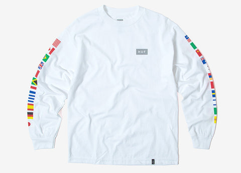 HUF Flags Long Sleeve T Shirt - White