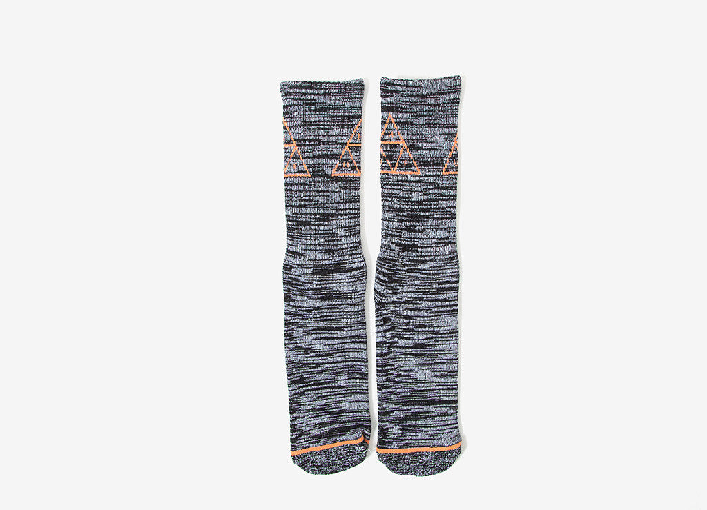 HUF Triple Triangle Melange Crew Socks - Black
