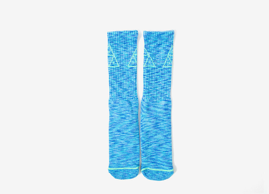 HUF Triple Triangle Melange Crew Socks - Blue
