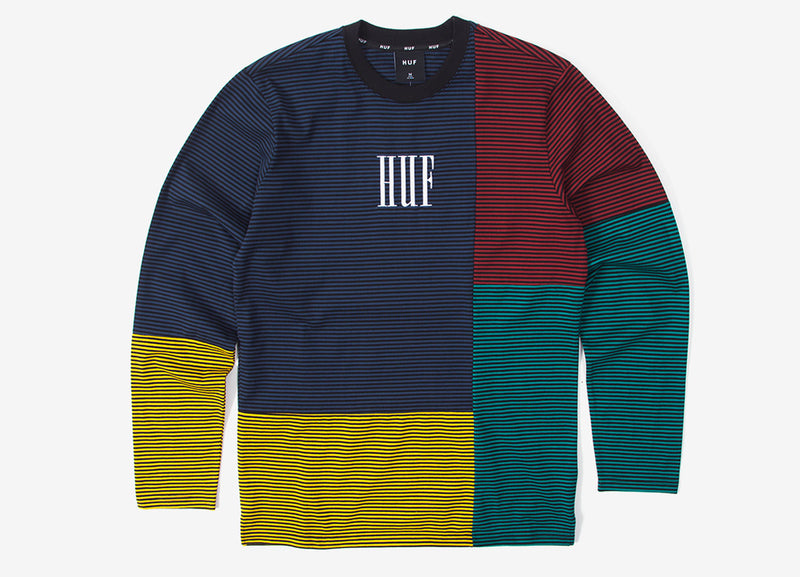 HUF Vilmos Stripe Long Sleeve T Shirt - Insignia Blue