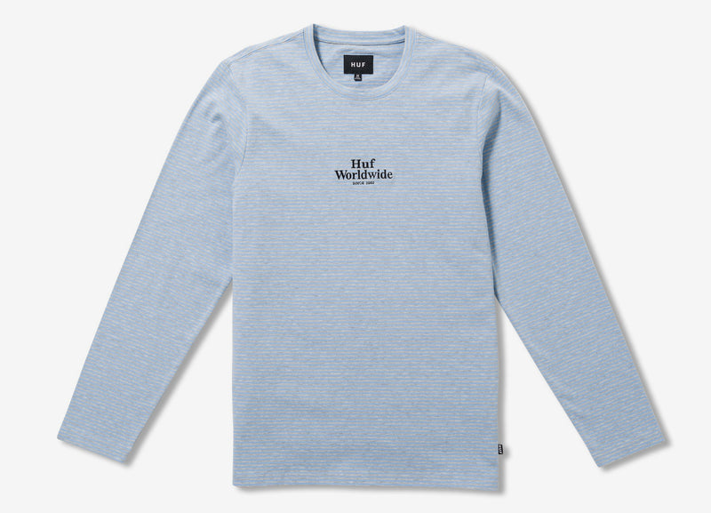 HUF Royale Stripe Long Sleeve T Shirt - Blue Grey Heather