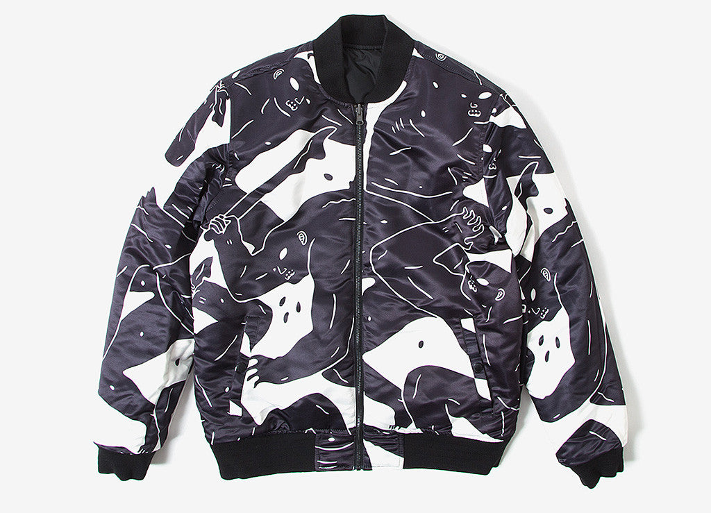 HUF x Cleon Peterson Reversible Bomber Jacket - Black