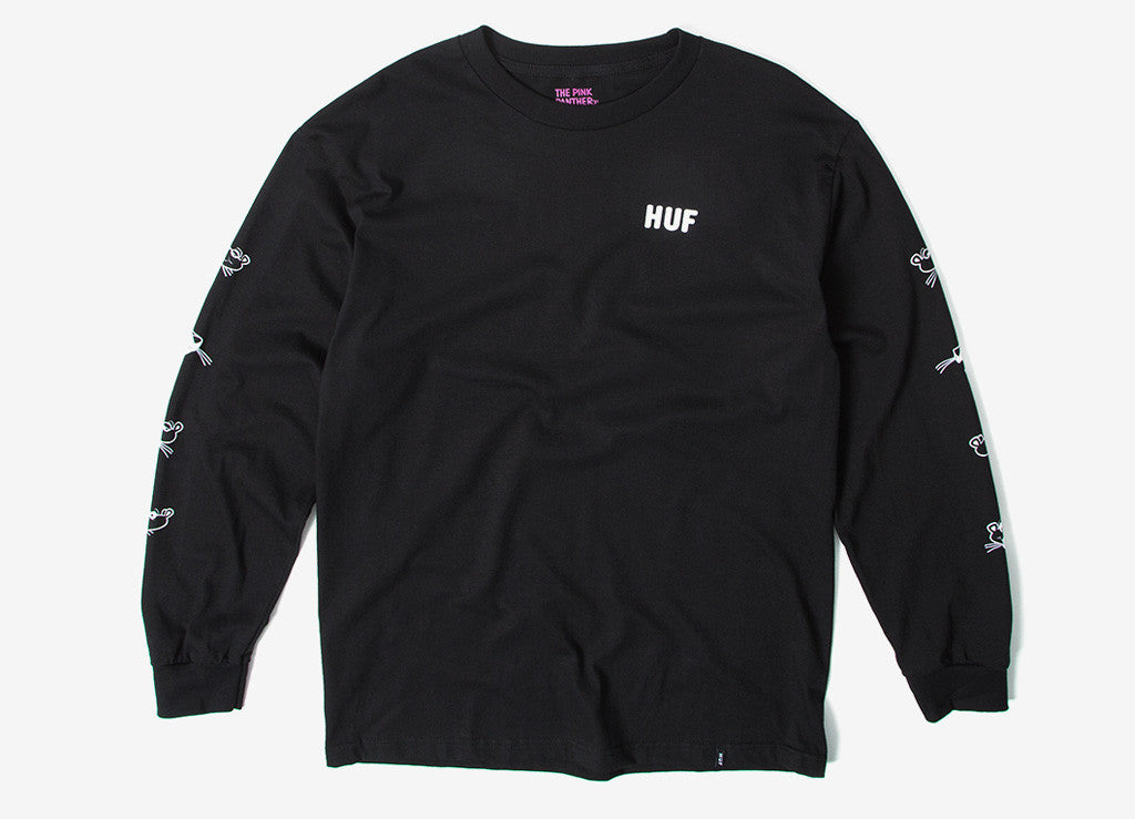 HUF x Pink Panther Heads LS T Shirt - Black