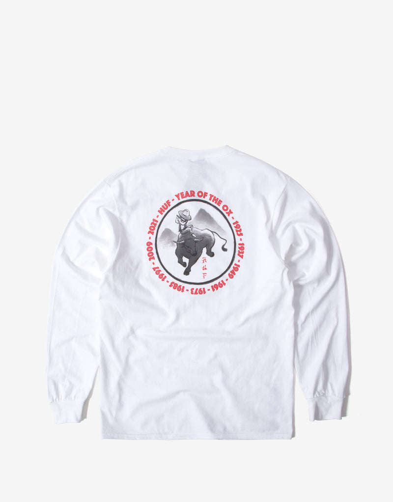 HUF Year of the Ox Zen Ox Long Sleeve T Shirt - White