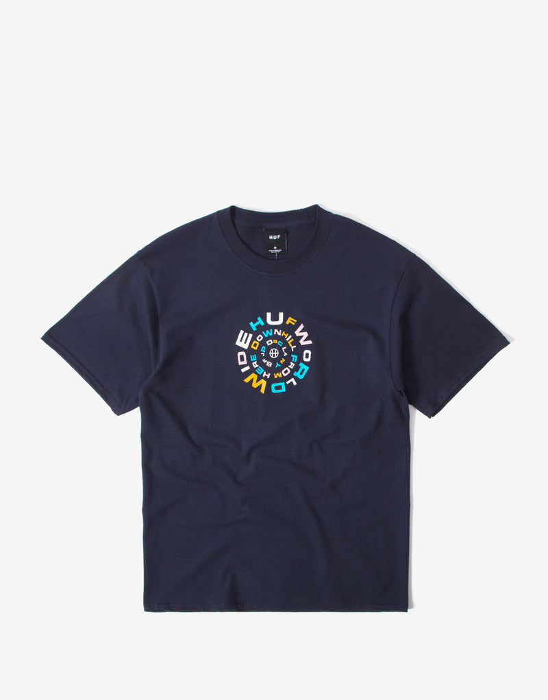 Huf Downward Spiral T Shirt - French Navy