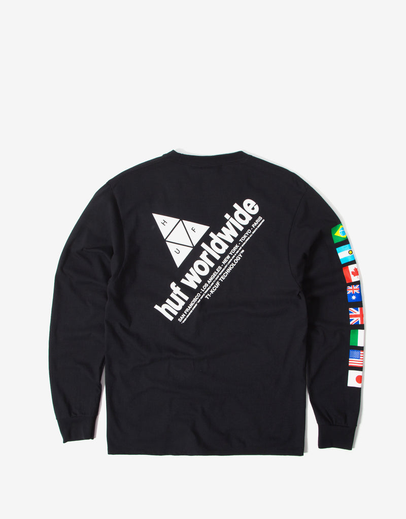 Huf Flag Union Long Sleeve T Shirt - Black