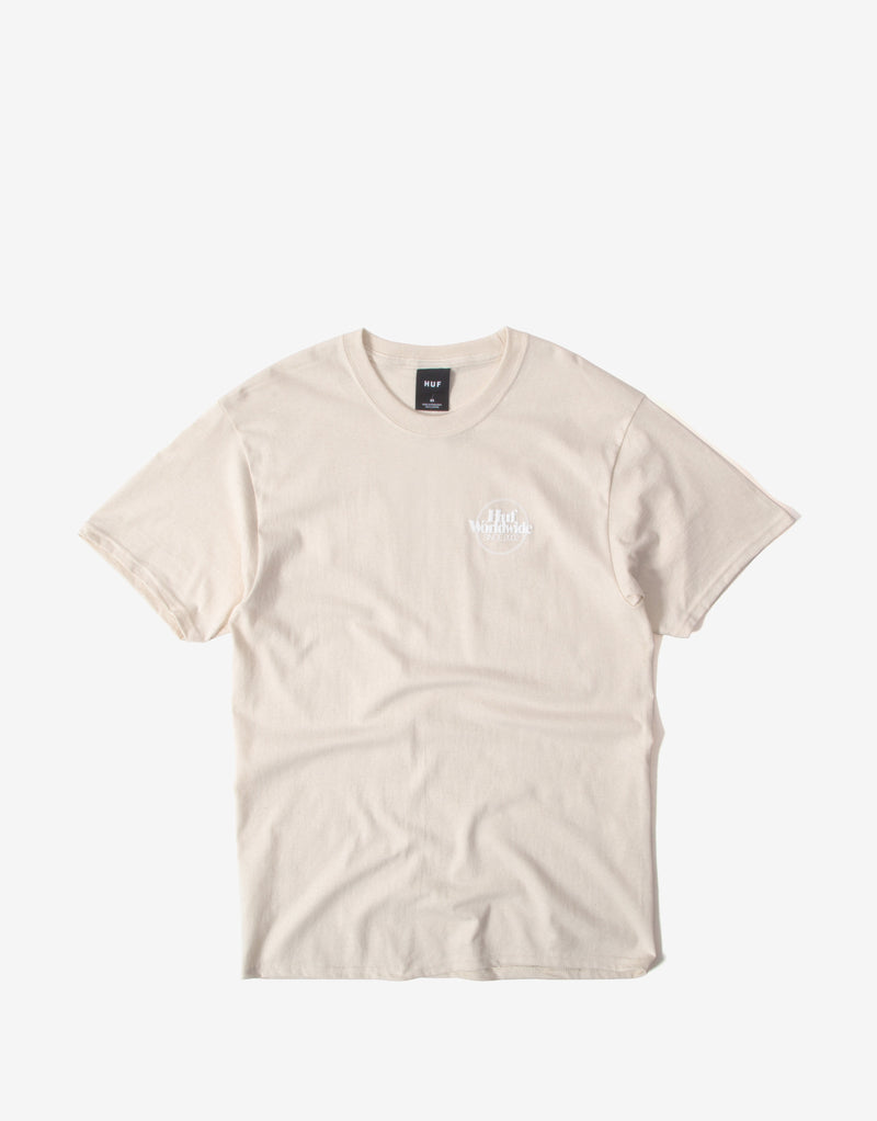 Huf Issues Logo Puff T Shirt - Unbleached