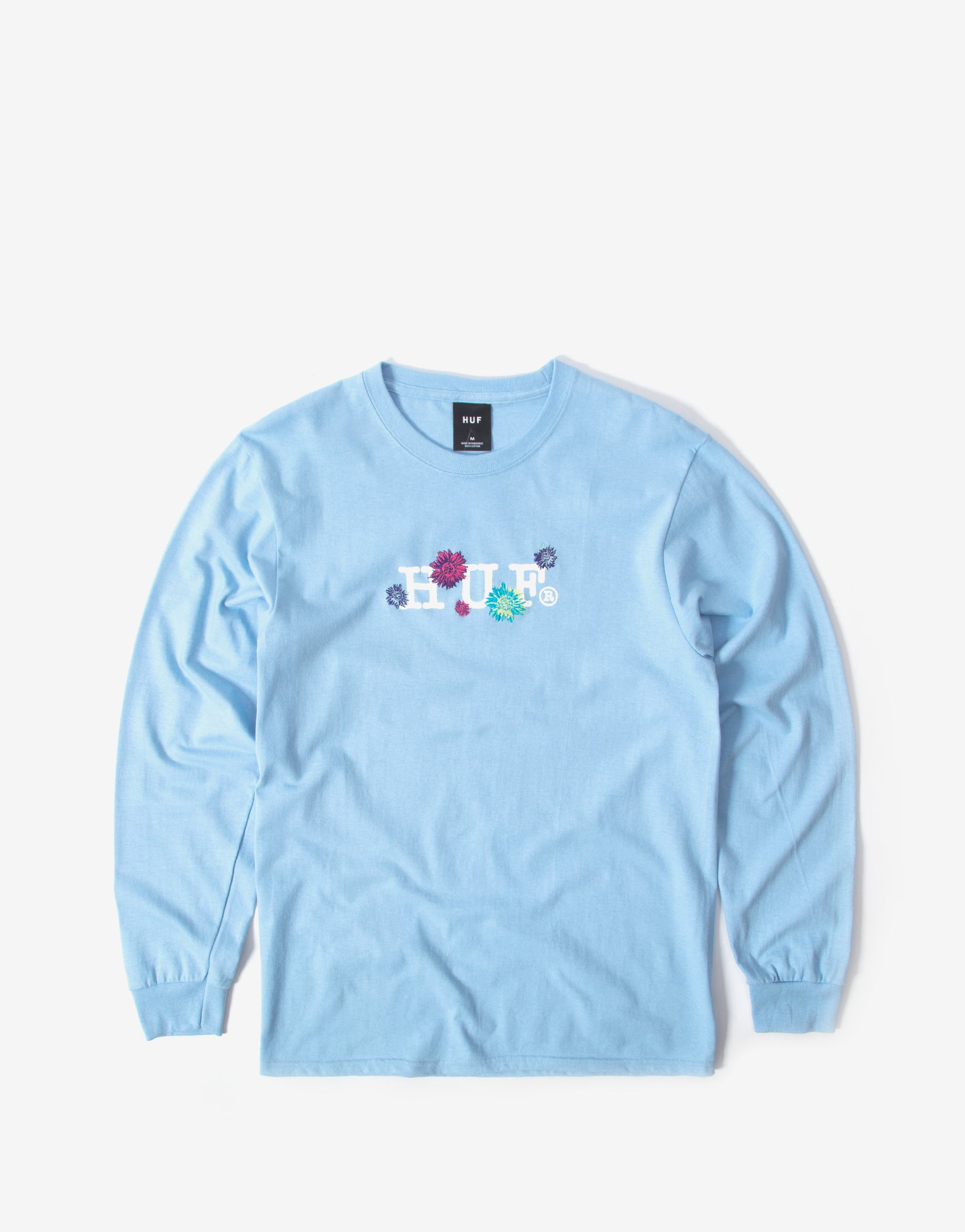 Huf Psycho Daises Long Sleeve T Shirt - Light Blue