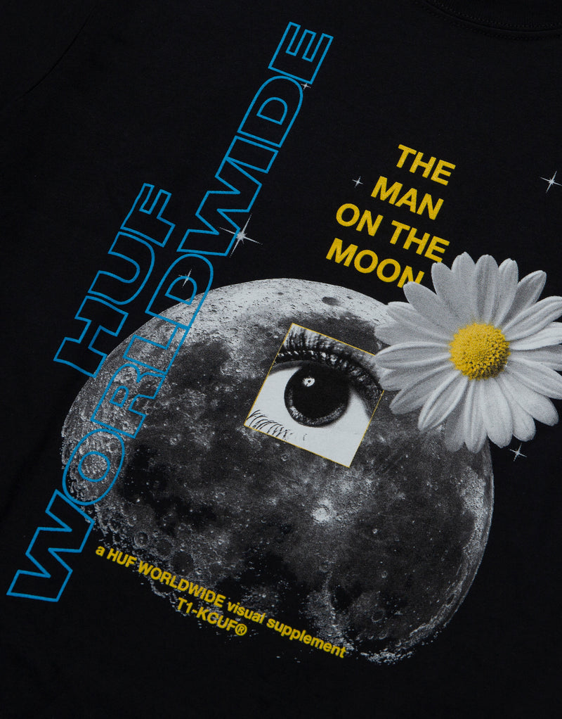 HUF Man on The Moon T Shirt - Black