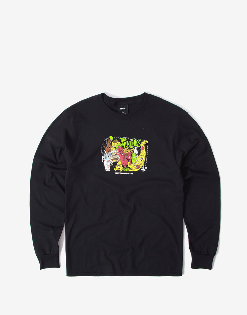 Huf The Munchies Long Sleeve T Shirt - Black