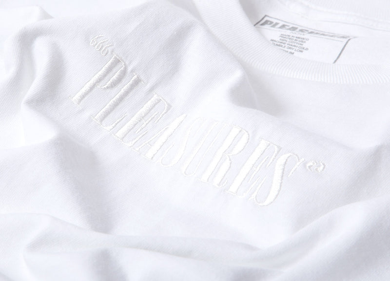 Pleasures Embroidered Core Logo T Shirt - White