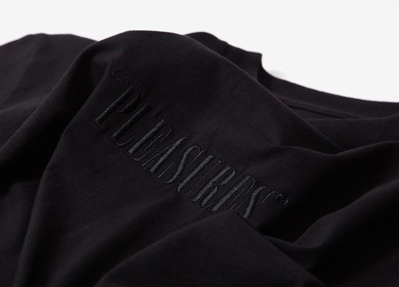 Pleasures Embroidered Core Logo T Shirt - Black