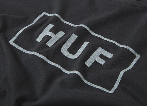 HUF Reflective Bar Logo T Shirt - Black